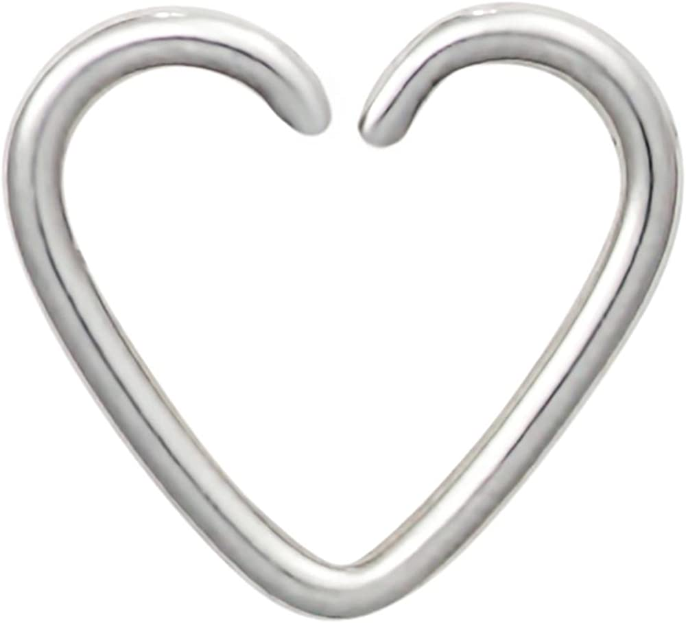 Forbidden Body Jewelry Fake Cartilage Earring: Surgical Steel Heart Shaped Clip-On Cartilage Hoop (No Piercing Required)