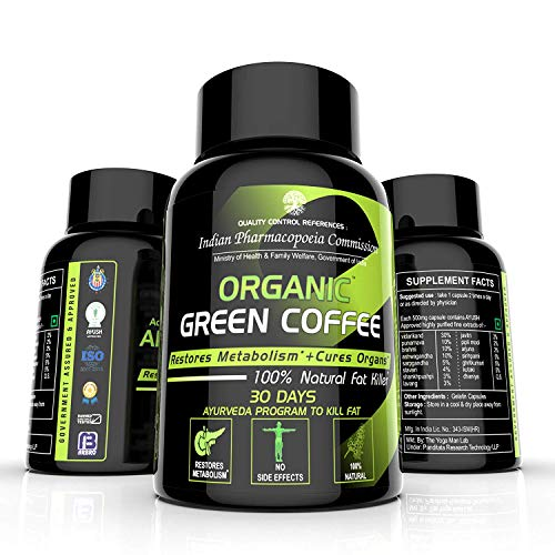 Organic Green Coffee Beans Extract for Weight Loss with Chlorogenic Acid – by The Yoga Man Lab (Pack of 1)