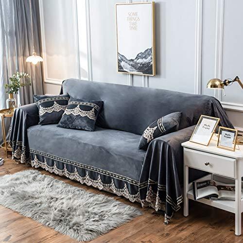 Sofá de la manta cubierta de felpa de la vendimia funda de sofá de terciopelo gamuza sofá cubierta con decoración de encaje antideslizante suave Adecuado para 1-4 Lugares sofá protector ,A,4 seat