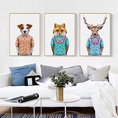 BBDNIW Moda Disfraz Hawaiano Animal Perro Zorro Ciervo Retrato Lienzo Pintura Arte impresin Imagen Dormitorio Estudio decoracin (40x60 cm) x3 sin Marco