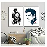 Suuyar Elvis Presley Back Wallpaper Canvas Posters Prints Wall Art Painting Decorative Picture Bedroom Modern Home Decoration -50x70cmx2 No Frame