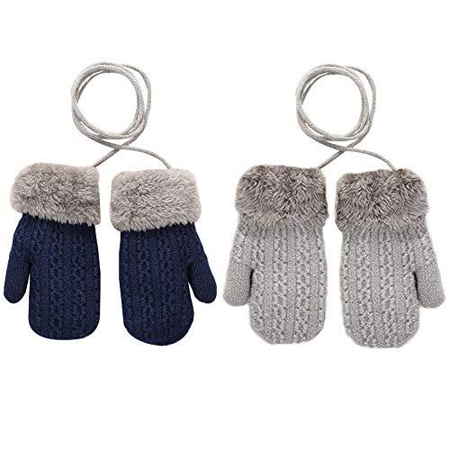 YUIP 2 Paar Kleinkind Winter Handschuhe, Outdoor Kinder Doppel Strickhandschuhe Fäustlinge Strickhandschuh Plüsch Weich Winterhandschuhe Skihandschuhe Handwärmer für 1-4 Jahre Kinder