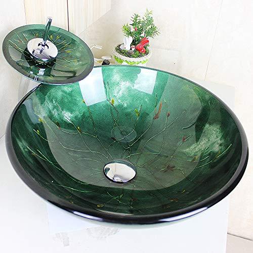 Homelava Modern Gehärtetes Glas Waschbecken mit Wasserfall Armatur Set (Grün 4)
