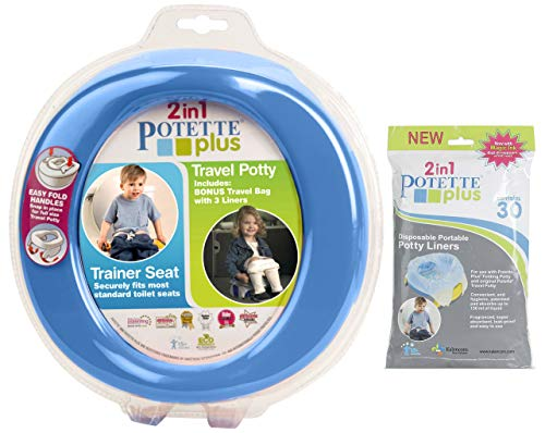 Green Potette Plus Port-a-potty Training Potty Travel Toilet Seat - 2 in 1 Bundle with Potette Plus Liners - 30 Liners by Kalencom