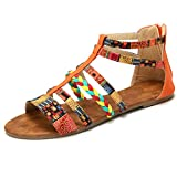 gracosy Flat Sandals for Women, Wedges Sandals Gladiator Summer Dress Sandals Ankle Slippers Woven Straps Shoes Flip Flop Thong Orange 8 M US