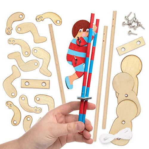 """Baker Ross Bastelsets Holzfiguren """"Roboter"""", für Kinder-Kunsthandwerksprojekte (30 Stück), sortiert"""