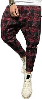 YYG Mens Jogger Pants Loose Fit Plaid Casual Active Sweatpants Pants Trousers