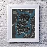 Gotham City Streetmap Map Batman Artwork Dark Knight Detective Alternative Graphic Minimal Minimalist Movie Film Minimal Poster Print Wall (L - 24 x 32 inch (61 x 81 cm))