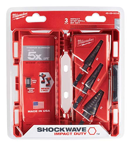 Milwaukee 48-89-9254 SHOCKWAVE High Speed Steel Impact Duty Step Bit 3 pc Set