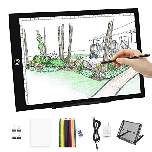 A4 LED Portable Light Box Tracer-Dimmable Artcraft Tracing Light Pad Light Board Multi-Angle Stand 12 Colors Pencils USB Charger for Artists Kids Beginners, Drawing Hand Lettering Sketching Animation