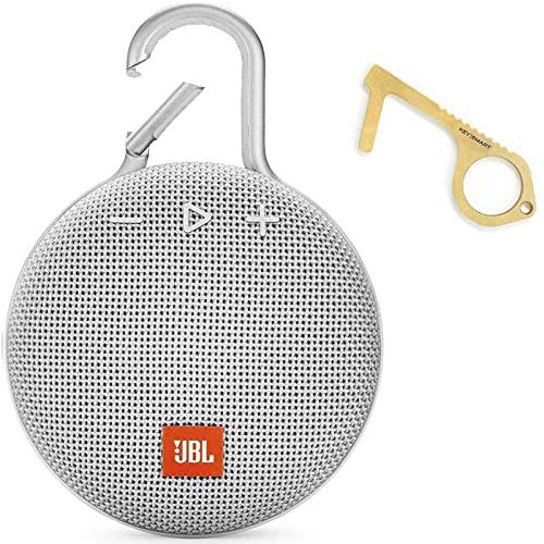 JBL Clip 3 Portable Waterproof Wireless Bluetooth Speaker - Non-Retail Packaging (Steel White) with KeySmart Clean Key