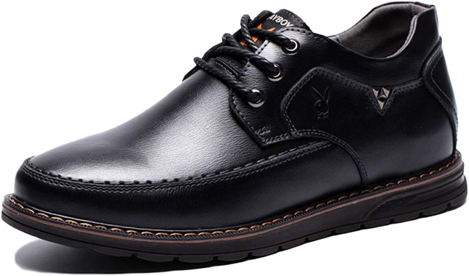 Snfgoij Mens Dress shoes Black Formal Business Pointed Fashion Lace-up Autumn Winter Leather shoes Men's Leather shoes