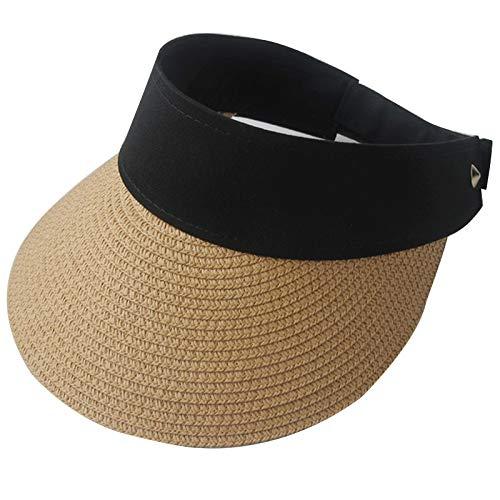 LiuQ Cappello da Sole Magic Tape Women Paglia Cappello Vuoto Top Donna Estate Cappello da Sole Protezione Solare Sport all'aperto Spiaggia da Pesca Protezione Solare