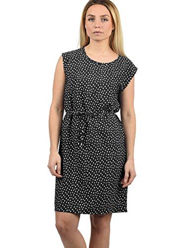 BlendShe Amaia Damen Blusenkleid Lange Bluse Kleid Mit Rundhals-Ausschnitt Knielang, Größe:L, Farbe:Black dot (10010)