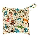 Wickeltaschen Baby wasserdicht Reißverschluss Tasche waschbar wiederverwendbar Babytuchwindel Tasche w / Tier Und Blume Muster Beige