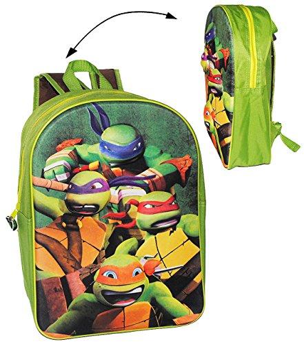 alles-meine.de GmbH 3D Effekt ! __ großer Rucksack - Teenage Mutant Ninja Turtles - Tasche für Kinder - wasserfest & beschichtet - Kinderrucksack - Hero Turtle / groß - Junge Kin..