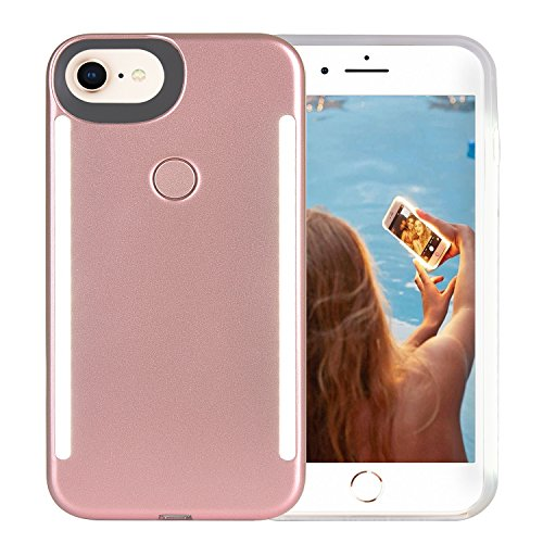 Wellerly iPhone 8 Case, iPhone 7 Case, iPhone 6/6s Case, LED Illuminated Selfie Light Up [Rechargeable] Dual Luminous Flashlight Cell Phone Case Cover for iPhone 8/7 / 6/6s (Rose Gold)