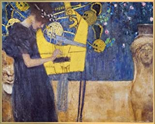1art1 Gustav Klimt Poster Art Print and Frame (Plastic) - The Music, 1895 (20 x 16 inches)