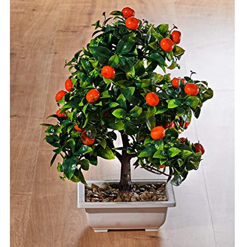 künstlicher Mandarinen Bonsai-Baum, 40 cm hoch, inkl. Schale, Kunstpflanze, Zierpflanze, Büropflanze