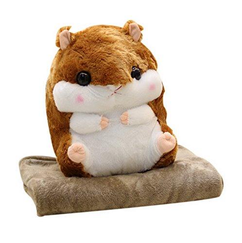 Koala Superstore 2 en 1 Plush Hamster muñeco de Peluche Almohada Muñeca Cojín Conjuntos, Marrón Oscuro
