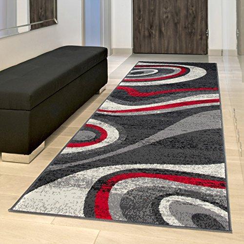 TAPISO Tappeto Passatoia Dream Camera Corridoio Salotto Moderno Cucina Colore Grigio Scuro Motivo Ondato Astratto 80 x 300 cm