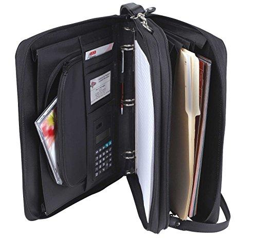Padfolio 3-Ring Binders, Folder File Divider Organizer Planner Trave Briefcase Portfolio w/Smart Handle & Double Zippered Closure (Black-1' Ring-OGR7131)