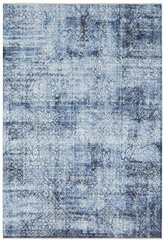 Nouristan Orientalischer Design Teppich Tabriz Bela mit Fransen Farah (120 x 170 cm, 80% Baumwolle, 20% PE Chenille, Pflegeleicht, Fußbodenheizung geeignet), Jeansblau, 120x170 cm