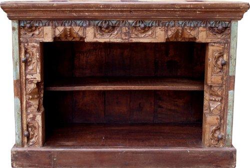 Guru-Shop Petite Commode, Bibliothèque, Buffet Ouvert, Table de Télévision, Look Vintage Avec Ornements - Modèle 12, Marron, 60x85,5x37 cm, Commodes Buffets