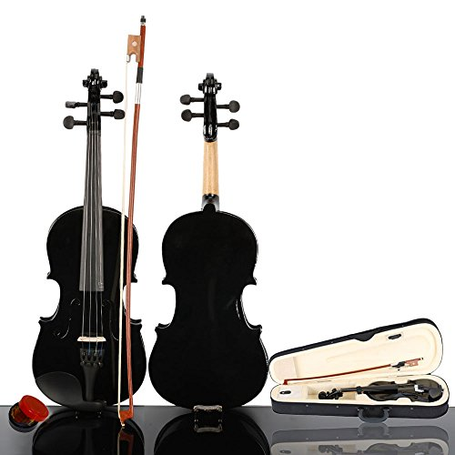 wuddi Acoustic Violin Fiddle 4/4 Full Size with Bow Case Rosin for Beginner Adult Boys Girls Children (3/4 Black)