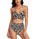 YANFANG Traje De BañO Mujer Bikinis Push Upbikini 2 Piezas con Estampado Floral Y Cintura Alta Cruzada para Mujer,Bikini,Caqui,L