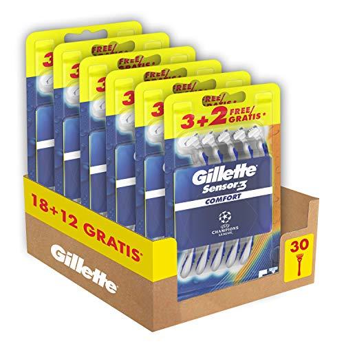 Gillette Sensor3 Comfort, Rasoio a Mano Libera, 30 Lamette di cui 12 Gratis, Testina...