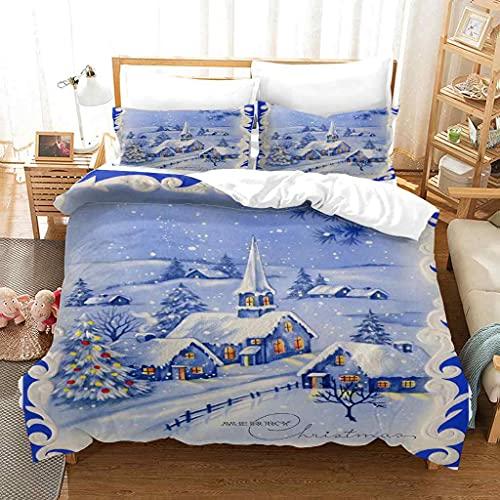 SJJGWL Juego de Funda Nórdica Cama 90/105 - 150x220 cm Iglú de Navidad Azul Funda de Edredón con Cierre de Cremallera de Microfibra cómodas y Suaves con 2 Funda de Almohada 50x75cm