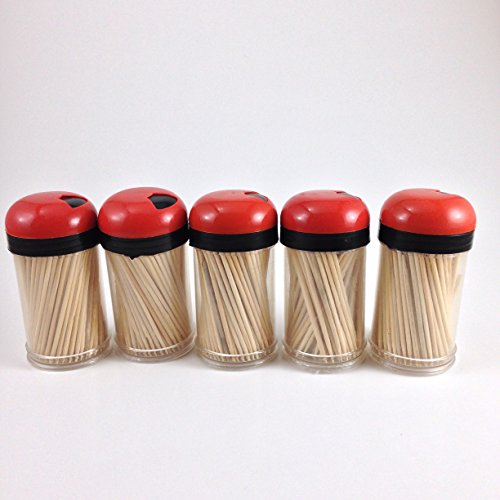 Toothpick Dispenser 5 pack with 750 ct 100% All Natural Bamboo Round Toothpicks