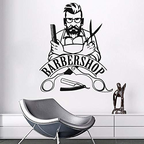 Barber shop sign calcomanía de pared extraíble vinilo de moda pegatina salón de belleza peluquería pegatina de pared decorativa A5 70x57cm