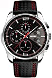 Qingmei Skmei Hombres Deportes Relojes Cuarzo Japonés Correa de cuero Resistente al agua Cronógrafo Relojes (Rojo)