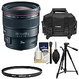 Canon EF 24mm f/1.4L II USM Objectif avec filtre Hoya UV + Canon Coque + trépied + kit de...