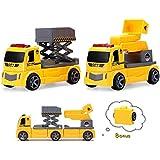 Pickwoo Magnetic Construction Car DIY Assembled Car Sets for Kids STEM Magnetic Toys for Kids Ladder and Lifter DIY Assembled Construction Vehicle Set (P312 Ladder + Lifter)
