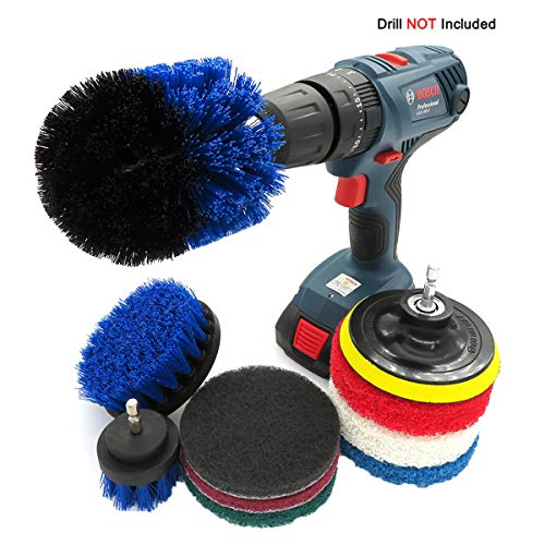 10 Piece Drill Cleaning Brush Attachment Set Scrubbing Tools for Tile, Toilet, Grout, Wheels, Bathroom, Tub