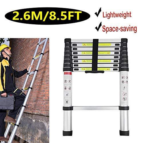 Escalera telescópica extensible de aluminio de 2,6 m, 9 peldaños plegable fácil de llevar, peso ligero 7,3 kg dljyy: Amazon.es: Bricolaje y herramientas