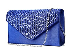 Envelope Type Evening Clutch Crossbody In Royal Blue