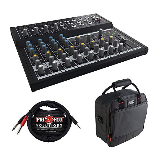 Mackie Mix12FX 12-Channel Compact Mixer with G-MIXERBAG-1212 Padded Nylon Mixer Bag & PB-S3410 3.5 mm Stereo Breakout Cable, 10 feet Bundle