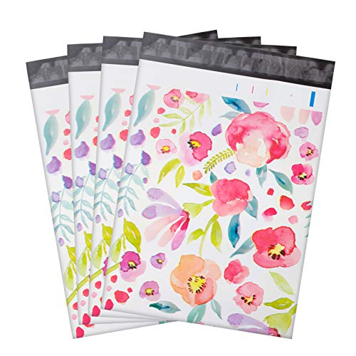 100 Pcs Poly Mailers,10x13 - Floral Patterns