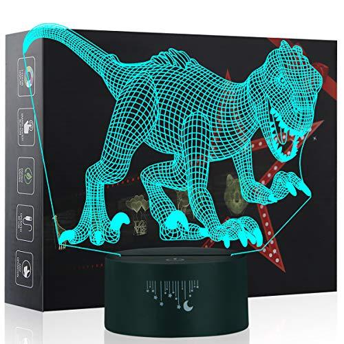 3D Dinosaurier Nachtlicht,7 Farben Berührungssteuerung Zuhause Dekor Tischleuchte,Optische Illusion LED Nachtlampe USB Tischlampe, für Kinder Weihnachten Geburtstag beste Geschenk Spielzeug