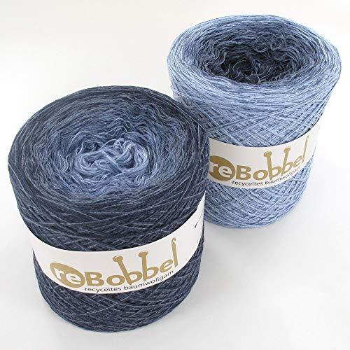 ReBobbel 50/50 Farbverlaufsgarn aus recycelter Baumwolle 4fach 1000m - Jeans