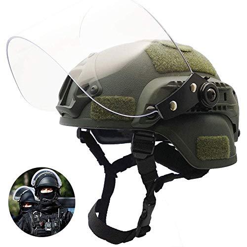 MEYLEE Mich 2000 Taktischer Helm mit Schutzbrille, Typ PJ Leichter, schneller Schutzhelm für das Airsoft Paintball CS-Kriegsspiel im Freien,Green