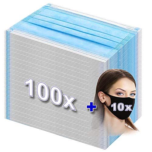 100 Stück medizinische Einwegmaske Mundschutz Op Masken Schutzmaske 3lagig MNS Typ 2R blau