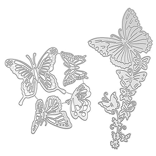FineGood Metall-Stanzformen für Kartenherstellung, Schmetterlings-Design, Stanzformen für Karten, Prägeschablonen für Scrapbooking, Alben, 2 Stück