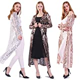 Women's Sequin Loose Casual Open Front Cardigan Coat Dress Summer Party Prom Sweater (XL, Apricot)