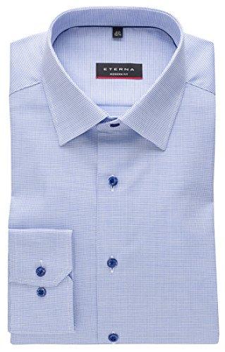eterna Herren Hemd Langarm Modern Fit Elegantes Business Büro Freizeit Hemden 8131/15/X18P Blau Strukturiert XL/43