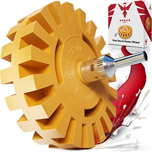Eraser Wheel Decal Remover - Sticker and Adhesive Removal Rubber Disk with Power Drill Attachment - Remove Vinyl Decals with Ease - Will Not Scratch Paint or Glass - Proudly Made by Car Enthusiasts